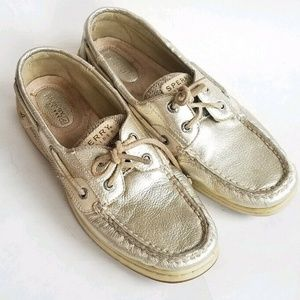 Sperry Metallic Champagne Gold Boat Shoes Loafers